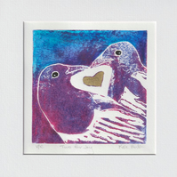 Two for Joy - original hand painted lino print 005