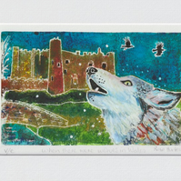 Wolves in Wales- original hand painted lino print inspired by poetry 003