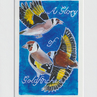 A Glory of Goldfinches - 002 original hand painted Lino print