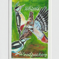 A Whittle of Woodpeckers - 001 original hand painted Lino print