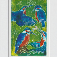 A Kiss of Kingfishers - 003 original hand painted Lino print