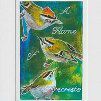 A Flame of Firecrests - 004 original hand painted Lino print