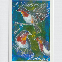 A Resilience of Robins - 001 original hand painted Lino print