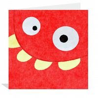 Red Monster 15x15cm Kids greetings card
