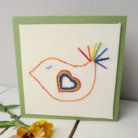Made to Order Hand Embroidered Bird Card