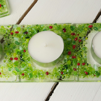Handmade Fused Glass Tea Light Holder