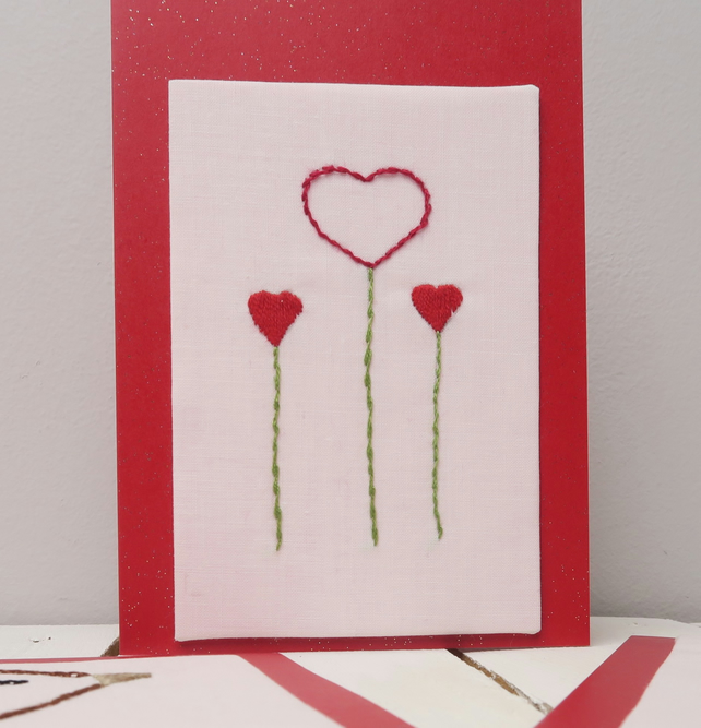 Hand Embroidered Flower Hearts Card