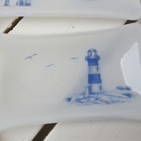 Made to Order Handmade Fused Glass Lighthouse Soap Dish Trinket Dish
