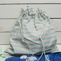Handmade Blue and Red Stripe Lined Wash Bag