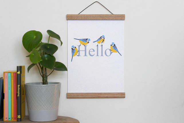Hello Blue Tit art print