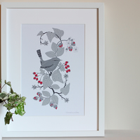 Wren and Hedgerow A4 art print