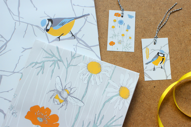 Blue Tit and Wildflower Gift wrap and tags set