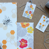 Honey Bee and Nasturtium gift wrap and tags set
