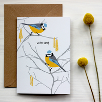 Blue tit with love card