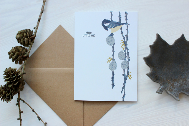 Coal Tit and Pine Cone 'Hello Little One' card