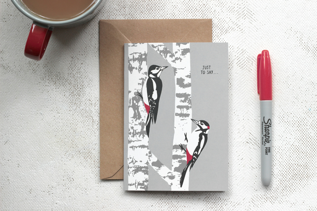 Woodpecker just to say card