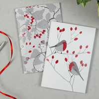 Christmas Robin and Hedgerow notebook set