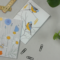 Blue Tit and Wildflower notebook set