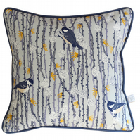 Coal Tit and Pine Cone cushion