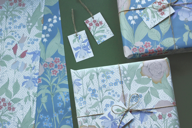 Grace's Garden gift wrap and tags set