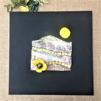 Harvest Moon - Ceramic Artwork incorporating gold glass with poppy detail