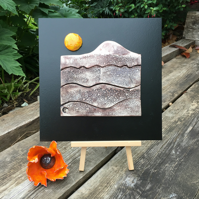 Ceramic and Glass mosaic - Serene mountain Landscape