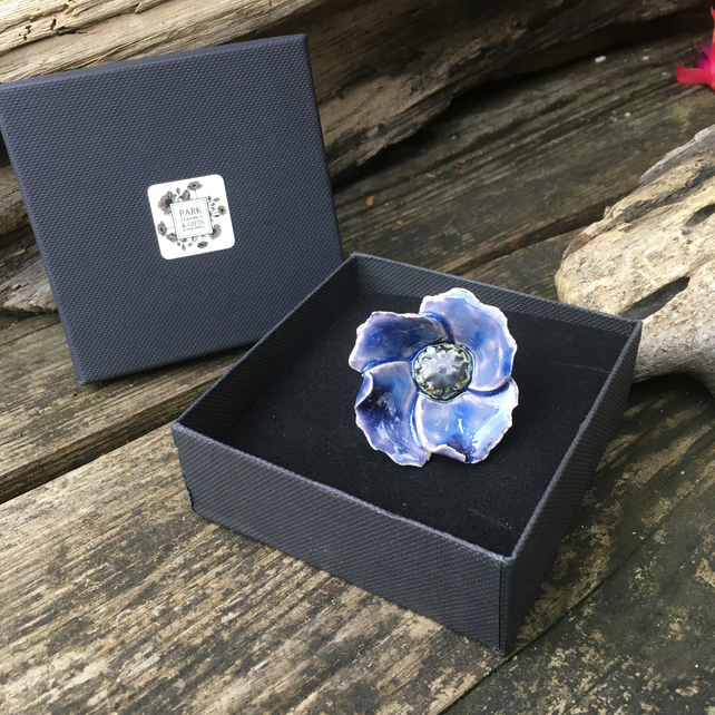 Purple ceramic Poppy flower pin
