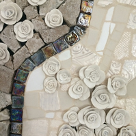 Rose sculptural ceramic wall art - ivory and stone