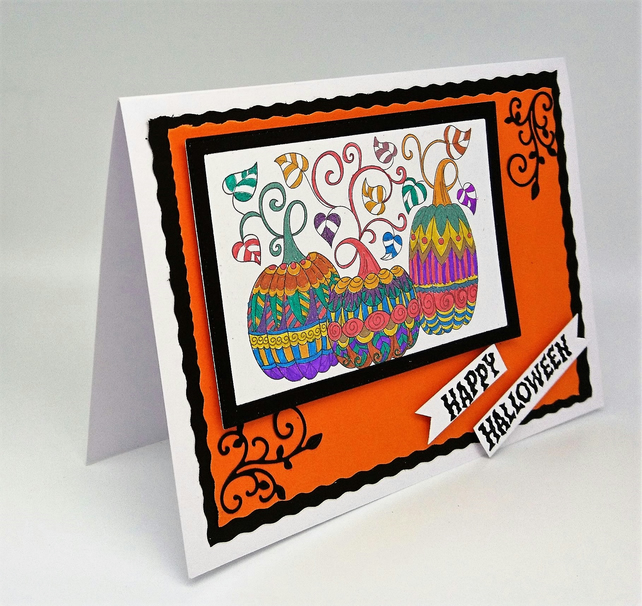 Happy Halloween Card, Colourful Halloween Pumpkins - FREE POSTAGE TO U.K.