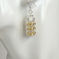 Two Tone Sterling Silver Earrings
