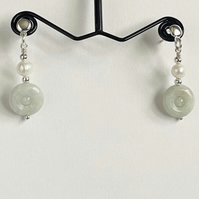 Jadeite and Freshwater Cultured Pearl Earrings