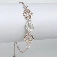 Sterling Silver Rose Gold Slider Bracelet