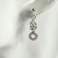 Sterling Silver Sweet Pea Chainmaille Earrings