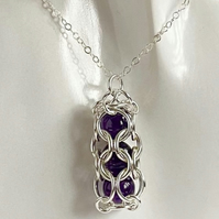 Captured Gemstone Chainmaille Amethyst Pendant