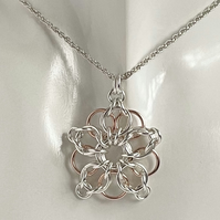 Sterling Silver Rose Gold Two Tone Chainmaille Pendant