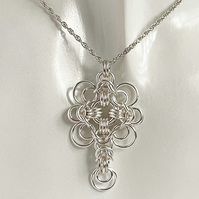 Sterling Silver Chainmaille Celtic Style Pendant