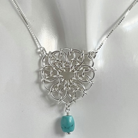 Turquoise Chainmaille Pendant