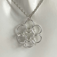 Sterling Silver Flower Chainmaille Pendant