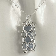 Sterling Silver Captured Angelite Chainmaille Pendant