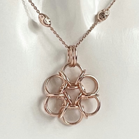 Rose Gold Sterling Silver Chainmaille Pendant and necklace