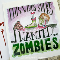 Zombie Virus Vinyl Square Die Cut 9.5cm Sticker.