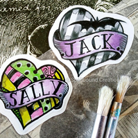 Jack And Sally Inspired Small Heart Design Vinyl Contour Cut Stickers. Set Of 2.