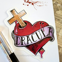 Dracula Vampire Heart Tattoo Design Contour Cut Vinyl Sticker. 10cm.