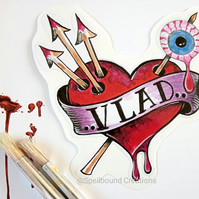 Vlad The Impaler Heart Tattoo Design Eyeball Vinyl Contour Cut 10 cm Sticker.