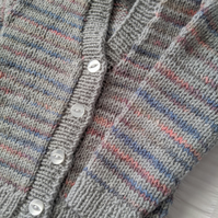 Hand-knitted V-neck baby cardigan