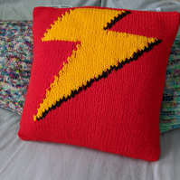 Red lightning bolt cushion cover