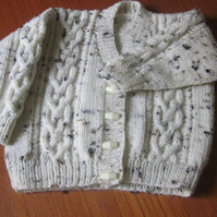 "Cream flecked cardigan to fit 20"" chest"