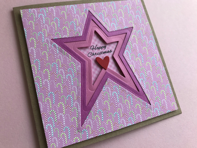 Happy Christmas card, happy Christmas star card, star Christmas card