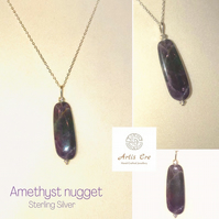 "Large natural Amethyst Nugget pendant Sterling Silver 20"" trace chain"