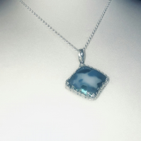 "Sterling Silver handcrafted and fused glass pendant blue 18"" belcher chain"